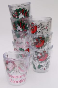 Tervis style clear plastic insulated tumblers, Christmas Santa holiday drinking glasses
