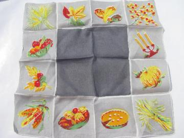 Thanksgiving fall harvest holiday printed hanky, vintage cotton handkerchief