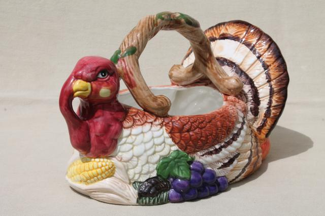 Thanksgiving Tom Turkey Ceramic Centerpiece Basket To Hold