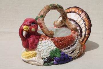 Thanksgiving tom turkey ceramic centerpiece basket to hold flowers, greenery, fruit