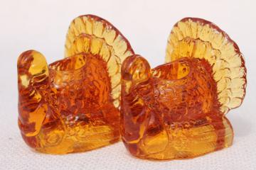Thanksgiving turkey pressed glass candlesticks, pair of amber glass candle holders