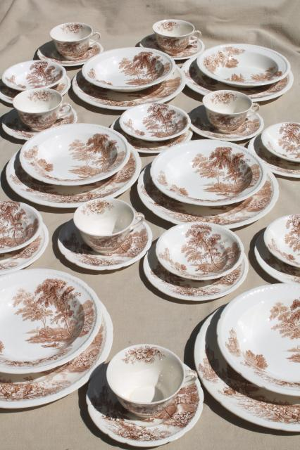 The Ferry Swinnertons Staffordshire china brown transferware dishes vintage dinnerware set for 6 & The Ferry Swinnertons Staffordshire china brown transferware dishes ...