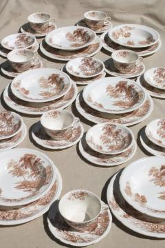 The Ferry Swinnertons Staffordshire china brown transferware dishes, vintage dinnerware set for 6