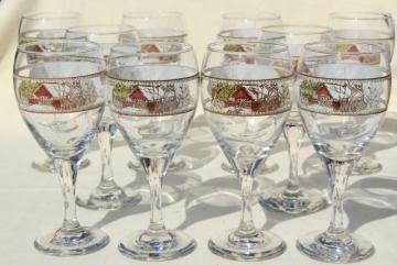 The Friendly Village Johnson Bros go-along wine glasses, vintage glassware set