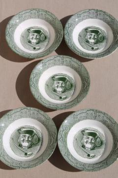 The Old Curiosity Shop china bowls w/ toby mug pattern, vintage Royal green transferware