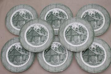 The Old Curiosity Shop china set of 8 dinner plates, vintage Royal green transferware