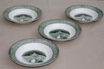 The Old Curiosity Shop green & white transferware soup bowls, vintage Royal china