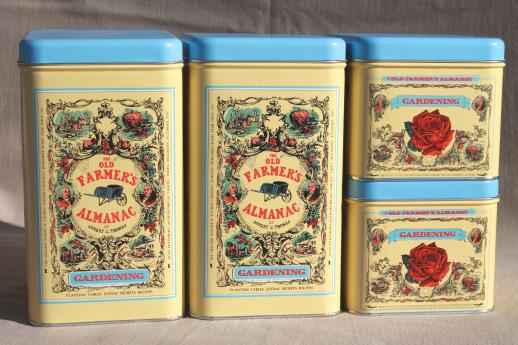 The Old Farmeru0027s Almanac Metal Canisters, Garden Or Kitchen Canister Set