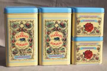 The Old Farmer's Almanac metal canisters, garden or kitchen canister set