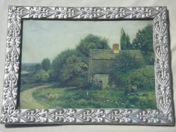 The Old Homestead framed vintage print in ornate antique silver wood frame