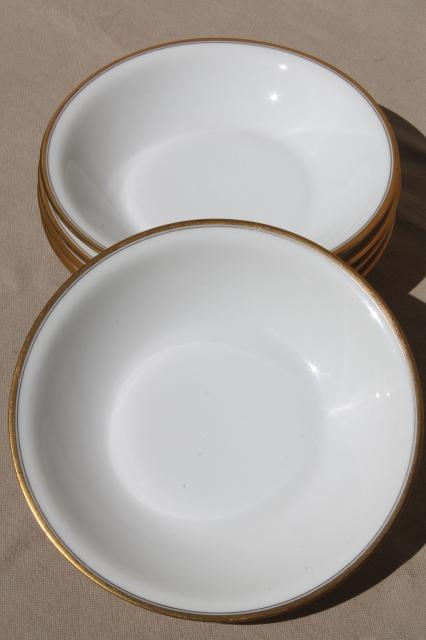 Theodore Haviland Limoges France vintage gold band white porcelain soup bowls & Theodore Haviland Limoges France vintage gold band white porcelain ...