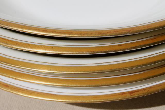 Haviland Limoges France vintage gold band white porcelain soup bowls