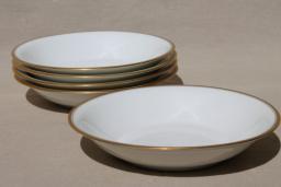 Theodore Haviland Limoges France vintage gold band white porcelain soup bowls