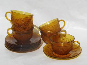 Tiara / Indiana amber glass sandwich daisy pattern cups & saucers
