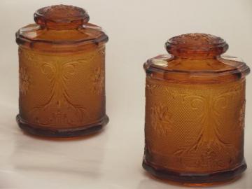 Tiara amber glass canister jars, vintage sandwich daisy pattern glass
