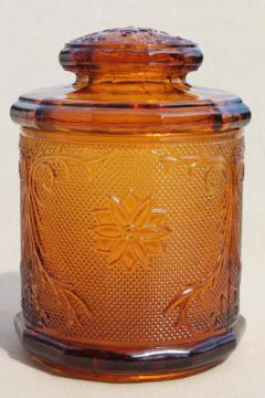 Tiara amber glass humidor or canister jar, vintage sandwich daisy pattern glass