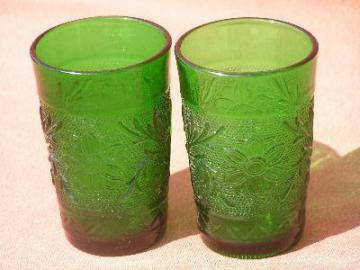 Tiara forest green sandwich daisy juice vintage glasses
