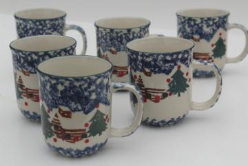 Tienshan China stoneware, Cabin in the Snow spongeware Christmas holiday coffee mugs