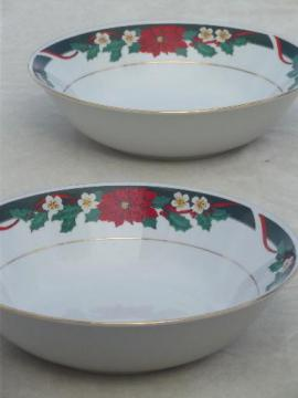 Tienshan Deck the Halls Christmas china serving bowls w/ poinsettia pattern