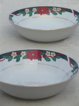 Tienshan Deck the Halls Christmas china serving bowls w/ poinsettia pattern