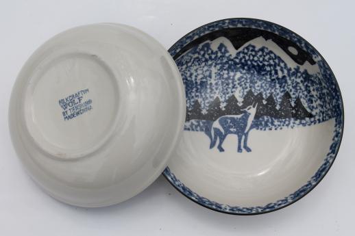 Tienshan Folk Craft Lone Wolf Stoneware Bowls Spongeware