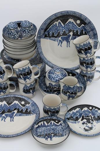 Tienshan Folk Craft lone wolf stoneware dishes set for 8 spongeware pottery dinnerware & Tienshan Folk Craft lone wolf stoneware dishes set for 8 spongeware ...