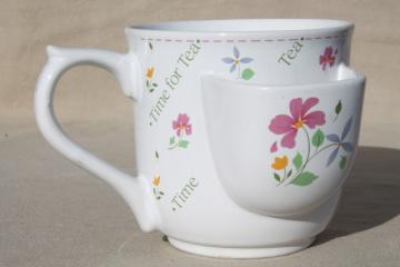 Time for Tea 80s vintage tea cup mug w/ teabag holder pocket, Papel - Japan