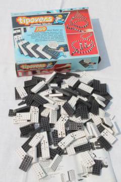 Tipovers motion blocks domino game bricks, set of 150 plastic toppling dominos