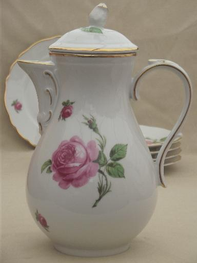 Tirschenreuth Bavaria Pink Roses China Tea Or Coffee Pot