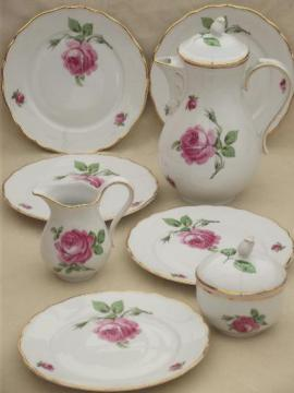 Tirschenreuth Bavaria pink roses china tea or coffee pot, cream & sugar, plates