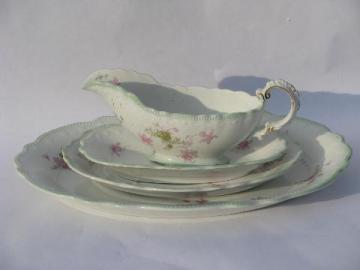 Tivoli - Grindley England china, pink floral w/ soft green, antique platters, pitcher