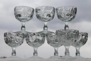 Toscany fruit salad pattern glass goblets, chunky water glasses w/ cherries & berries