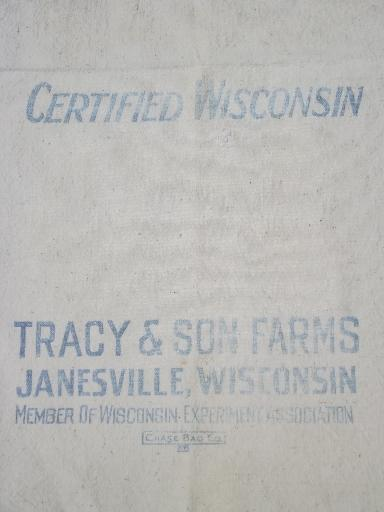 Tracy's seed corn Janesville Wisconsin primitive old cotton grain bags