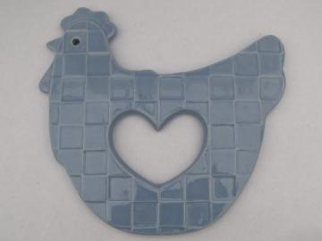 Treasure Craft kitchen trivet, Auntie Em blue chicken, hen w/ heart