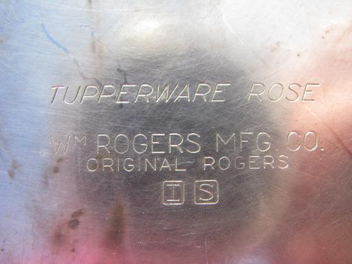 Tupperware Rose 50s vintage Wm Rogers tray, silver plate over heavy copper