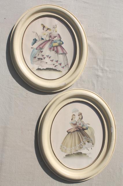 Turner Style Oval Prints 1940s Vintage Southern Belle