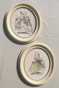 Turner style oval prints, 1940s vintage southern belle pictures in shabby chic wood frames