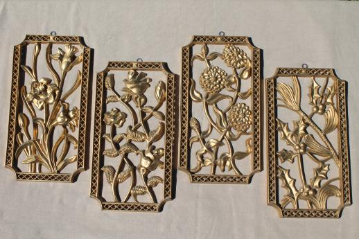 turner wall art set vintage gold rococo plastic wall plaques four