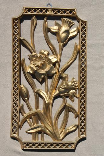Turner wall art set, vintage gold rococo plastic wall plaques four ...