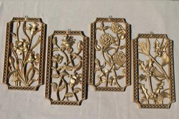 Turner wall art set, vintage gold rococo plastic wall plaques four seasons