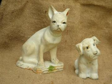 Two antique carnival chalkware pieces, dogs with such sweet