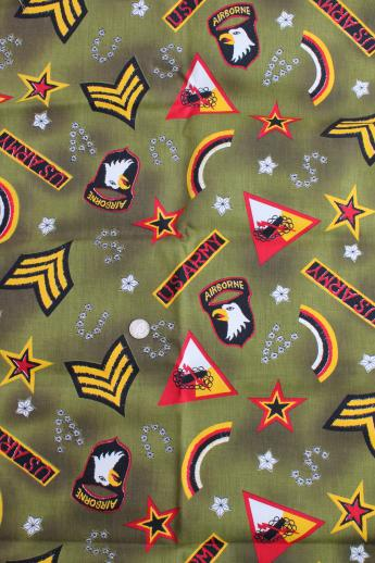 Us Army Print Cotton Twill Fabric W Badges From Army Air