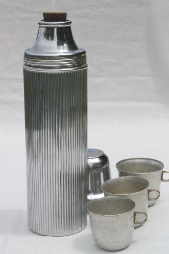 Universal chrome thermos, large camp flask w/ cups, WWI vintage insulated canteen bottle