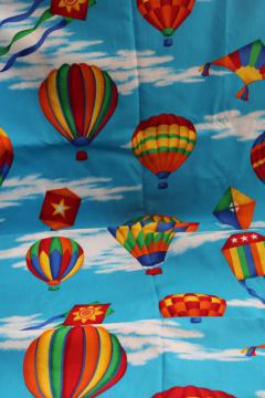 VIP Cranston print cotton broadcloth, bright hot air balloons & kites in the sky