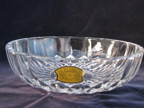 Val St Lambert Label Signed Crystal Glass Bowl