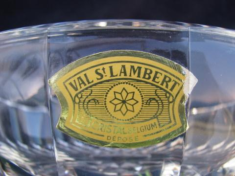 Val St Lambert label, signed crystal glass bowl