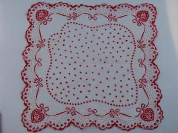 Valentine hanky, vintage red and white hearts print cotton handkerchief
