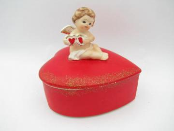 Valentine heart w/ cupid angel, vintage Lefton china trinket box for Valentine's Day