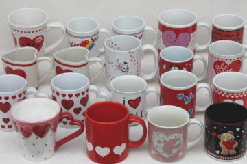 Valentine heart holiday mugs, collection of 18 coffee cups w/ hearts for Valentine's Day
