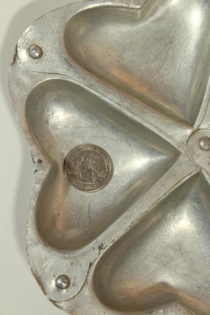 Valentine heart vintage baking pan, primitive riveted metal ring of hearts